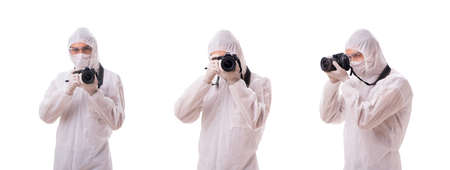 Forensic specialist in protective suit taking photos on white background Archivio Fotografico