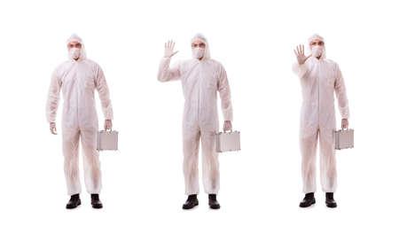 Criminologist in protective suit with steel case Archivio Fotografico