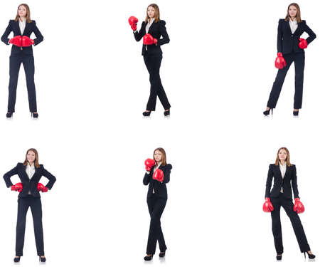 Businesswoman with boxing gloves isolated on white Stock Photo - 117498964