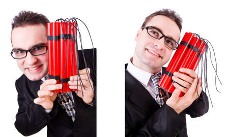 Man with dynamite isolated on white Stock Photo