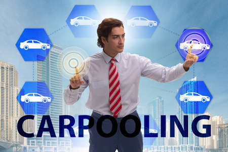 Businessman in carpooling and carsharing concept Banque d'images - 117492237