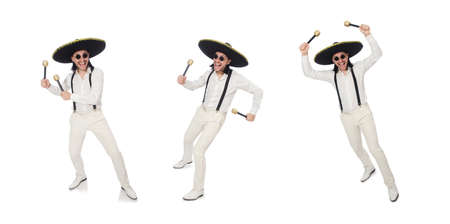 Funny mexican with maracas isolated on white