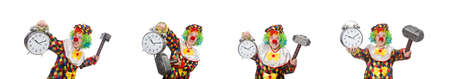 Clown with clock and hammer isolated on white
