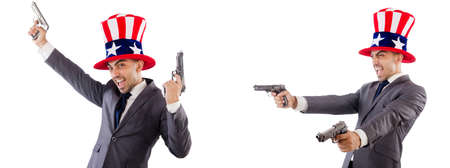 Man with american hat and handguns Stock Photo