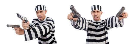 Prisoner with gun isolated on white Standard-Bild - 117493141