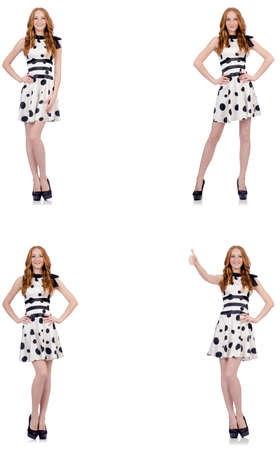 Young woman in polka dot dress isolated on white Banque d'images