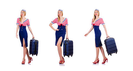 Airhostess with luggage on white Banque d'images - 117493618