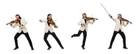 Mann mit Geigenspiel auf weiß Standard-Bild