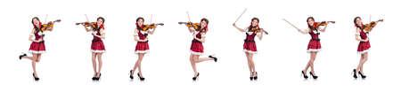 Frau mit Geige isoliert auf weiß