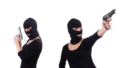 Burglar with handgun isolated on white Imagens