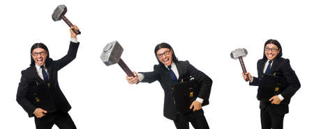Businessman with hammer on white