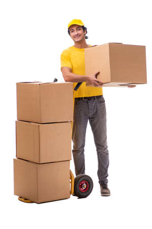 Young male courier with box Banco de Imagens