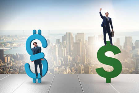 Businessman in dollar and debt concept Stock Photo
