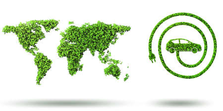 Ökologisches Autokonzept - 3D-Rendering Standard-Bild