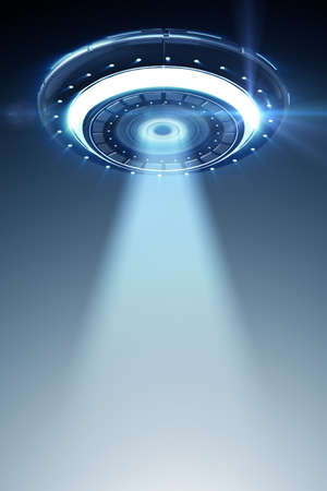 Illustration of flying saucer emitting light - 3d rendering Standard-Bild
