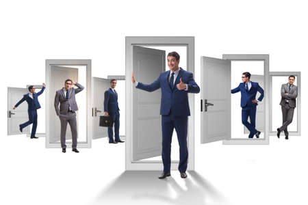 Businessman in uncertainty concept with many doors Фото со стока - 118013412