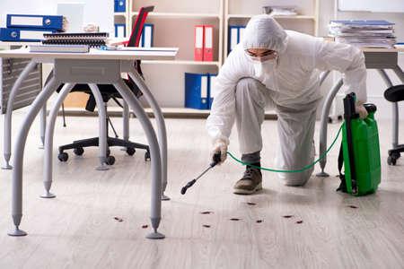 Entrepreneur professionnel faisant la lutte antiparasitaire au bureau