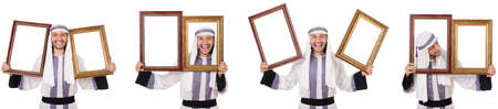 Arab man with picture frame isolated on white background