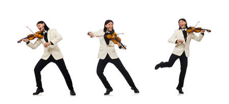 Man with violin playing on white background Reklamní fotografie