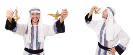 Arab man with lamp isolated on white background
