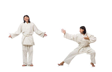 Karate fighter isolated on white background