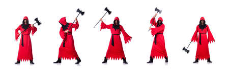 Executioner in red costume with axe on white background Фото со стока