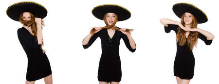 Young redhead lady in black dress with black sombrero Banque d'images