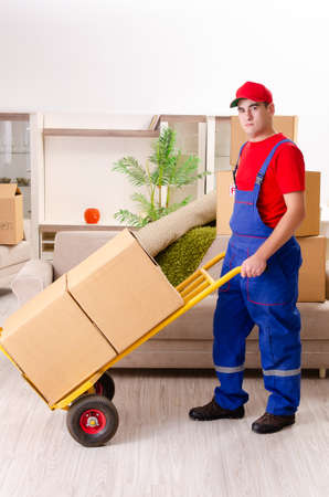 Young contractor with boxes working indoors