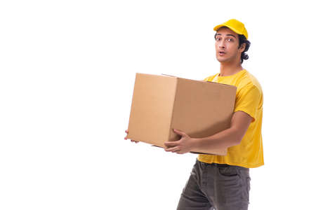 Young male courier with box Standard-Bild