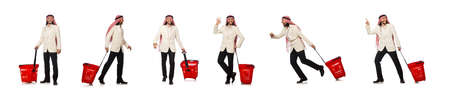 Arab man doing shopping isolated on white Stock Photo