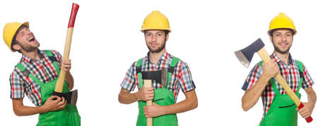 Industrial worker with hatchet isolated on white