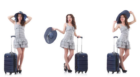 Woman with suitcase isolated on white Imagens