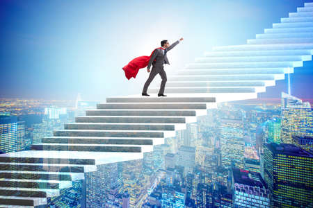 Superhero businessman climbing career ladder