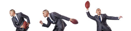 Man with american football ball isolated on white Imagens