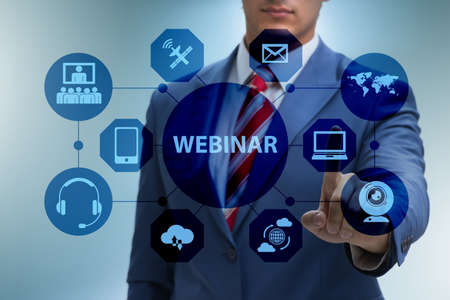 Businessman in online webinar concept
