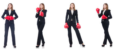 Businesswoman with boxing gloves isolated on white Stock fotó