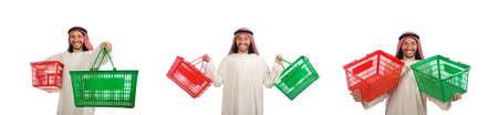 Arab man doing shopping isolated on white Banque d'images