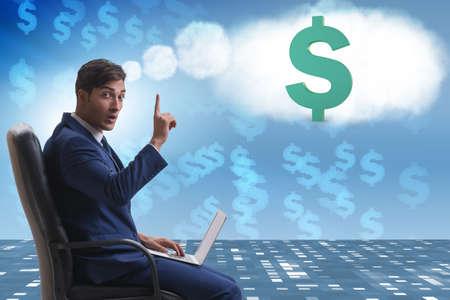 Businessman dreaming of money dollars