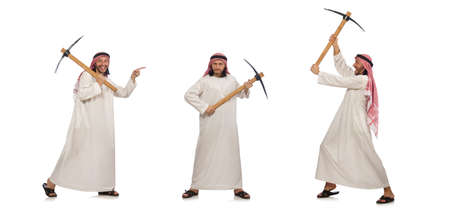 Arab man with ice axe isolated on white background