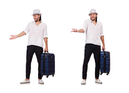 Travel vacation concept with luggage on white background