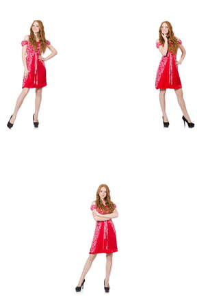 Redhead woman in red dress