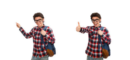 Young male student isolated on white background Stock Photo