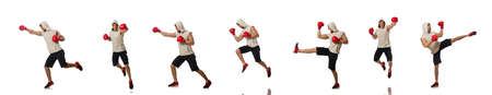 Boxing concept with young sportsman Stock Photo - 118876406