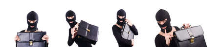 Industrial espionage concept with person in balaclava Stock Photo
