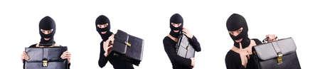Industrial espionage concept with person in balaclava Zdjęcie Seryjne