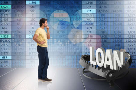 Young student in loan and debt concept Foto de archivo