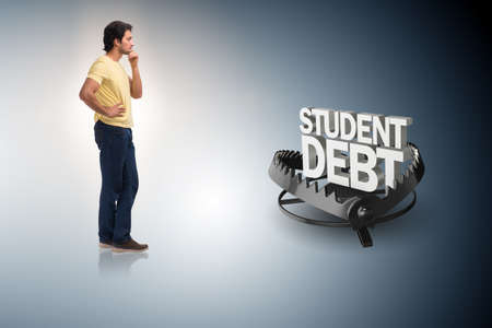 Young student in loan and debt concept Banque d'images