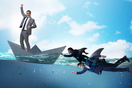 Businessmen in competition concept with shark Banco de Imagens - 118877288