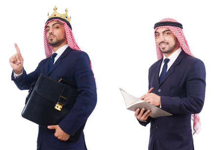 Arab man with bag isolated on white background Stockfoto