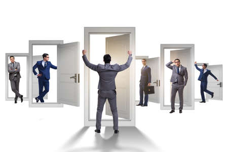 Businessman in uncertainty concept with many doors